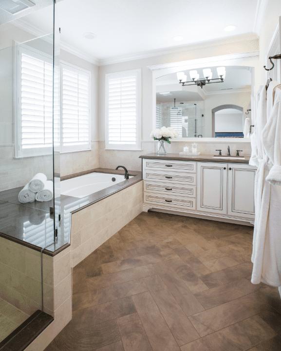 bathroom floor with porcelain wood grain tile